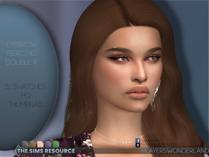 Sims 4 Eyebrow Piercing Double R by PlayersWonderland at TSR