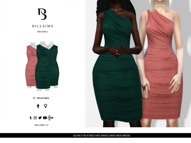 Sims 4 Slinky Ruched One Shoulder Midi Dress by Bill Sims at TSR