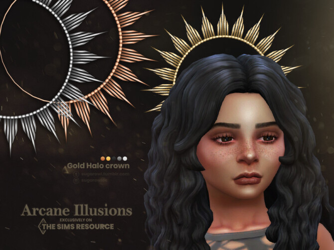 Sims 4 Arcane Illusions   Gold Halo crown for kids by sugar owl at TSR