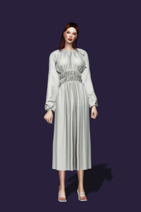 Sims 4 Shirring Waist Dresses at Gorilla