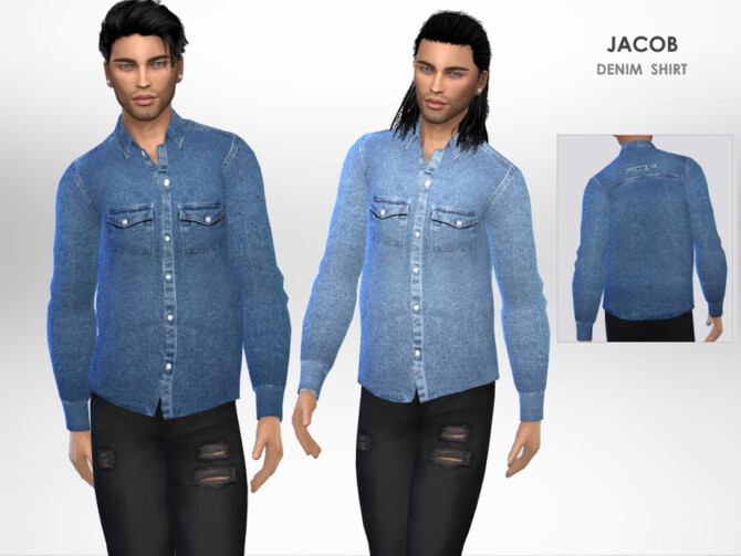 Sims 4 Jacob Denim Shirt by Puresim at TSR
