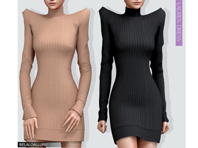 Sims 4 Belaloallure Lauren dress by belal1997 at TSR