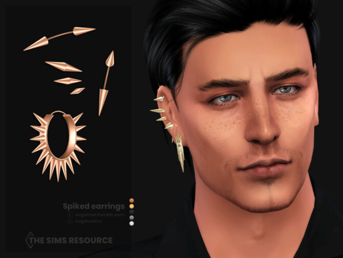 Sims 4 Spiked male earrings | Right by sugar owl at TSR