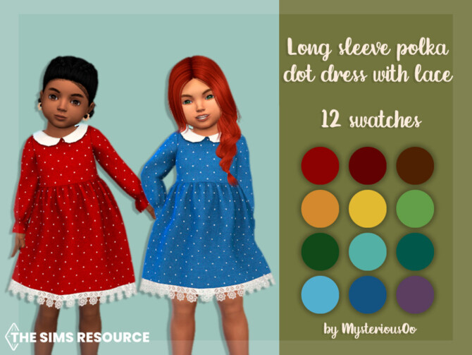 Sims 4 Long sleeve polka dot dress with lace by MysteriousOo at TSR