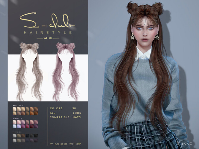 Sims 4 Long straight hair with buns (ELIANE) by S Club at TSR