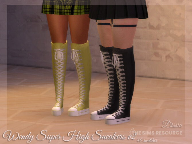 Sims 4 Wendy Super High Sneakers v2 by Dissia at TSR