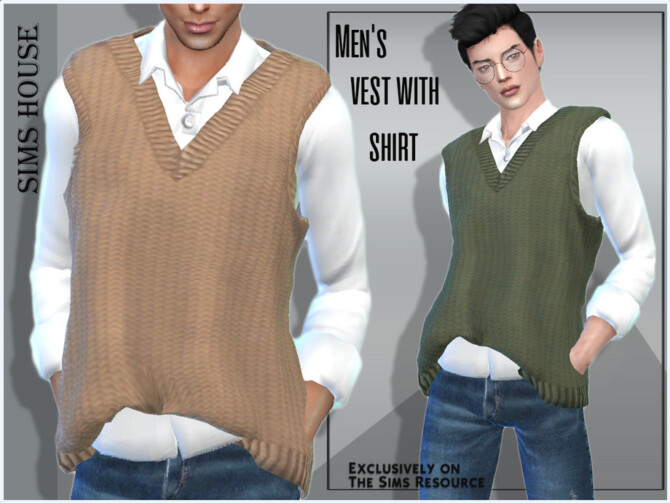 Sims 4 Mens vest with shirt by Sims House at TSR