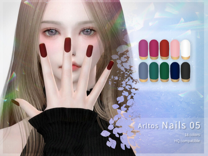 Sims 4 Matte nails (rings) by Arltos at TSR