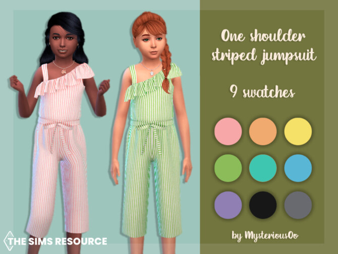 Sims 4 One shoulder striped jumpsuit by MysteriousOo at TSR