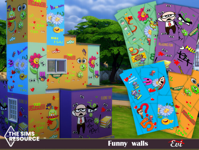 Sims 4 Funny Walls by evi at TSR