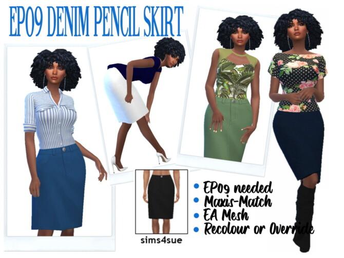 Sims 4 EP09 DENIM PENCIL SKIRT at Sims4Sue