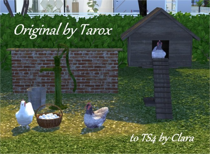 Sims 4 Chickens and accessories by Clara at All 4 Sims