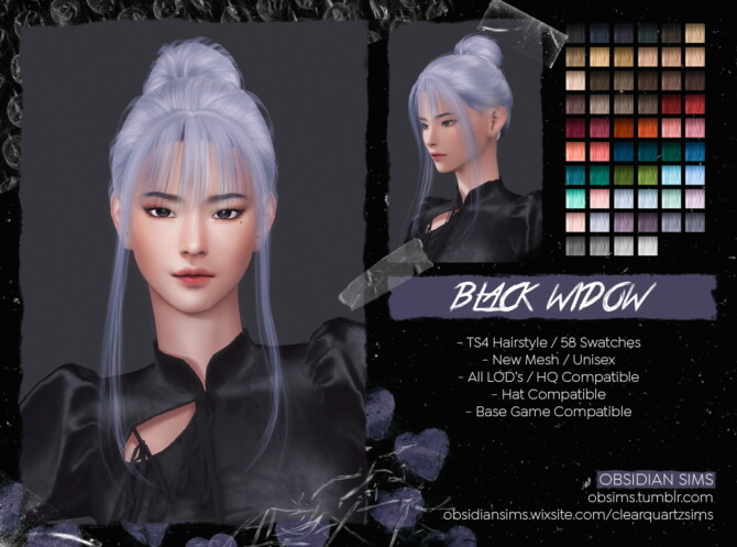 Sims 4 BLACK WIDOW HAIRSTYLE at Obsidian Sims