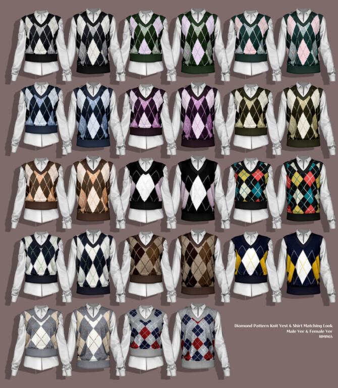 Sims 4 Diamond Pattern Knit Vest & Shirt 2 at RIMINGs